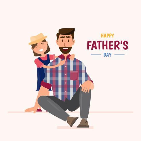 Buona festa del papà. la figlia abbraccia suo padre vettore