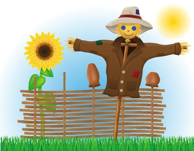 paglia spaventapasseri in un cappotto e cappello con recinzione e girasoli vettore