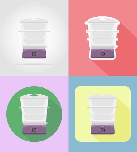Gli elettrodomestici del vapore per le icone piane della cucina vector l'illustrazione