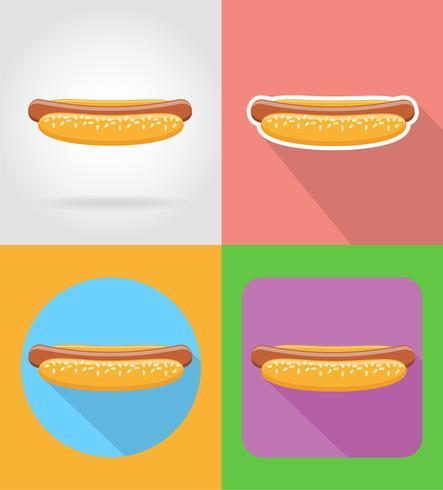 Icone piane degli alimenti a rapida preparazione dell'hot dog con l'illustrazione di vettore dell'ombra