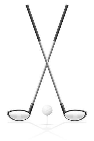 illustrazione di vettore di golf club e palla