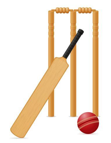 illustrazione vettoriale di palla da biliardo e wicket attrezzature da cricket