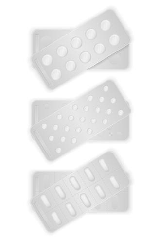 pillole mediche in pacchetto per l'illustrazione di vettore di trattamento