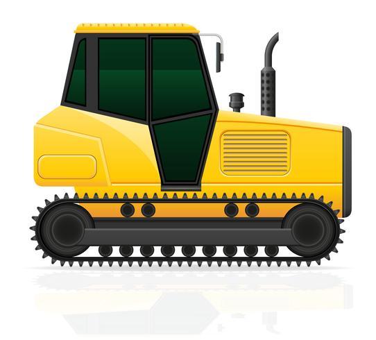illustrazione di vettore del trattore a cingoli isolato su priorità bassa bianca