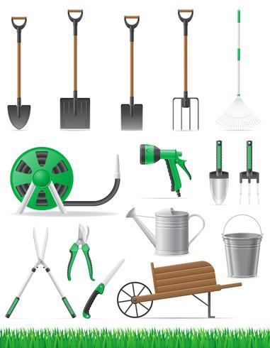 imposta illustrazione vettoriale strumento giardino