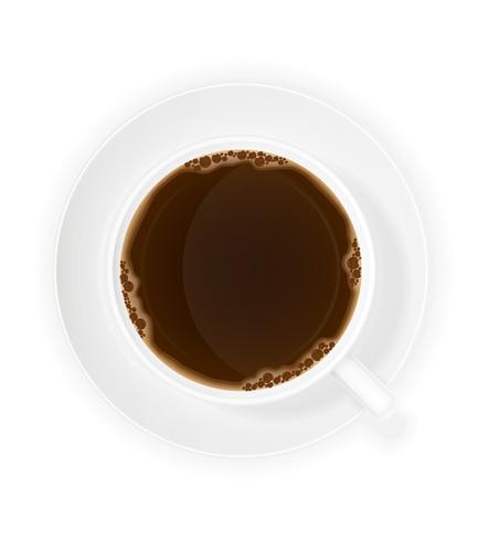 illustrazione vettoriale di vista superiore della tazza di caffè