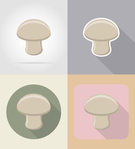 illustrazione piana di vettore delle icone del cibo e degli oggetti del fungo del fungo prataiolo