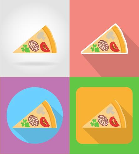 icone piane di fast food di pizza con l'illustrazione di vettore di ombra