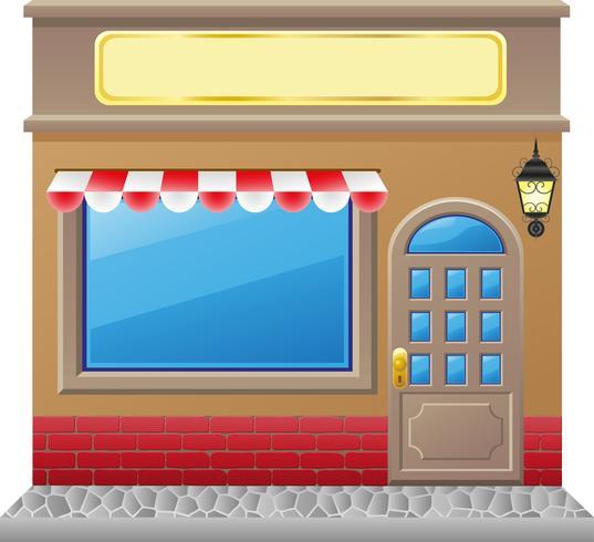 facciata del negozio con una vetrina vettore