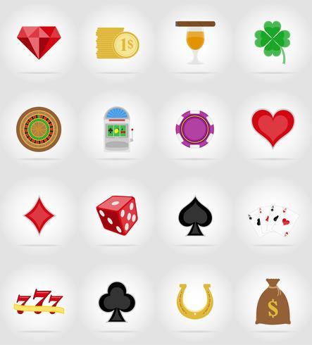 icone del casinò e icone piatte icone illustrazione vettoriale
