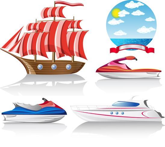 set di icone di trasporto marittimo vettore