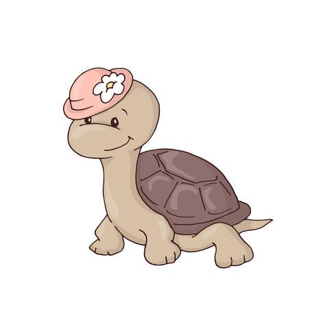 Carina affascinante ragazza cartone animato tartaruga in un cappello con un fiore. vettore