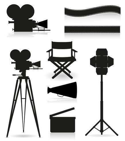 set icone sagoma cinematografia cinema e illustrazione vettoriale film