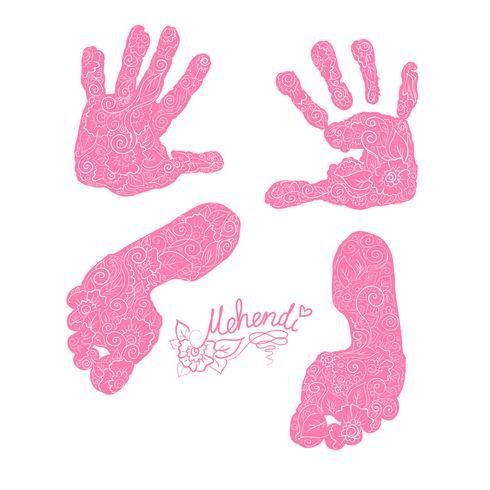 Stampa di palme e piedi per bambini. Set Mehendi. vettore