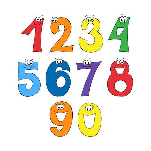 Font arcobaleno, 123 numeri alfabeto. vettore