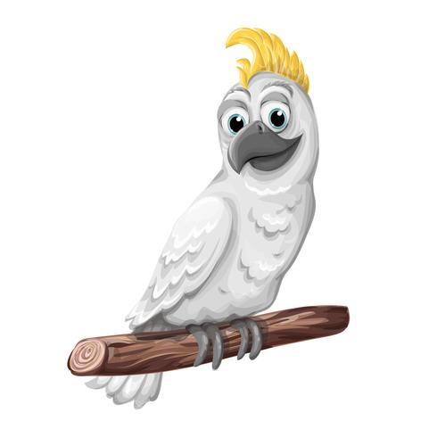 Cacatua alba uccello. Personaggio pappagallo Simbolo dell'Australia. vettore