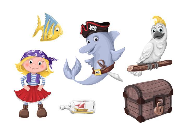 Set di bambini simpatici cartoni animati divertenti di pirati e abitanti del mare. vettore