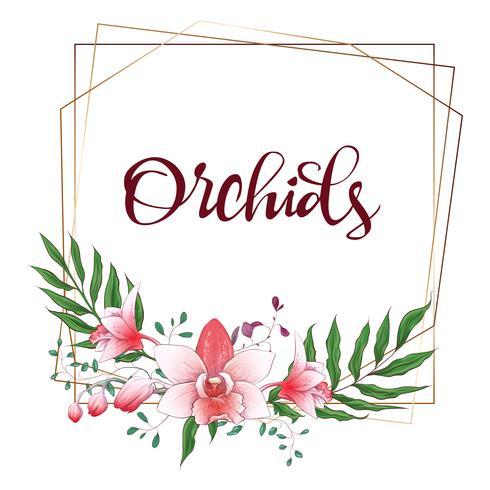 Cornice geometrica di disegno floreale. Orchidea, eucalipto, verde. Carta di nozze vettore