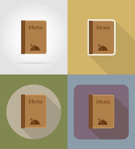 oggetti del menu e attrezzature per l'illustrazione vettoriale di cibo