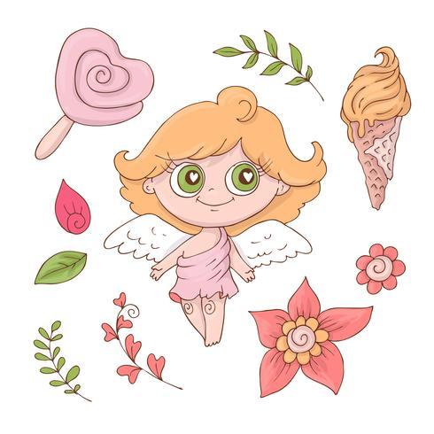 Set di angeli simpatico cartone animato per San Valentino con accessori vettore