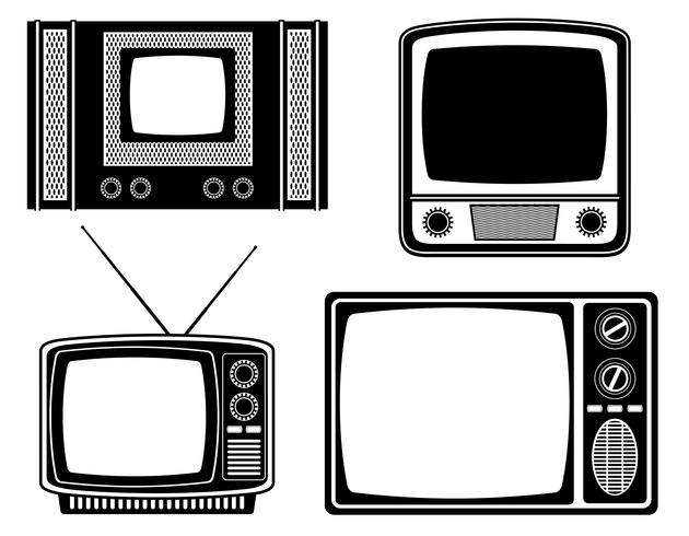 Siluetta nera del profilo dell'illustrazione di vettore delle azione della vecchia icona d'annata retro della TV