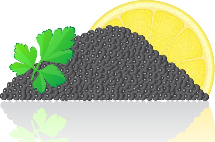 caviale nero con limone e prezzemolo vettore