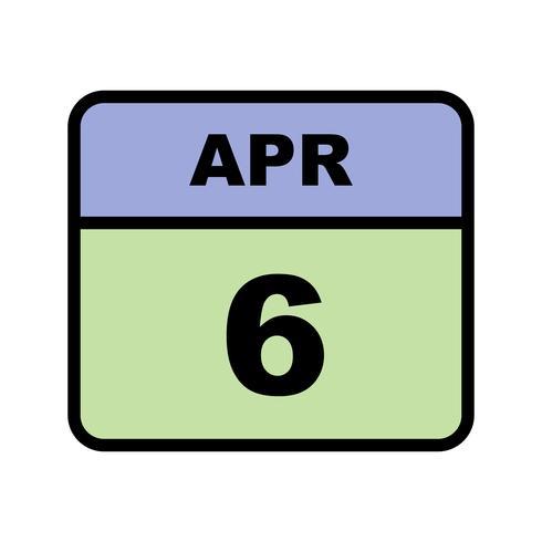 6 aprile Data su un calendario per un solo giorno vettore