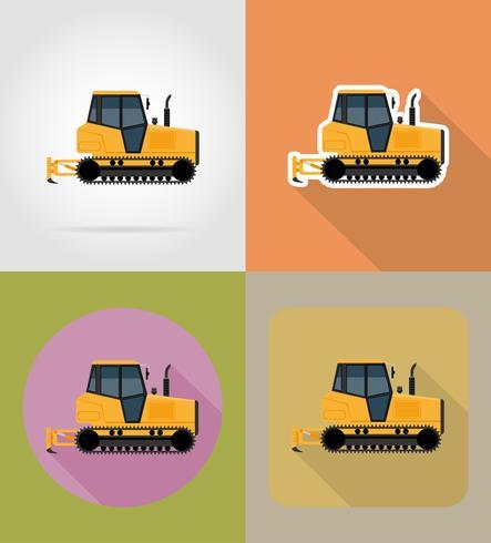 icone piane del trattore a cingoli illustrazione vettoriale