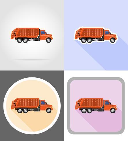 il camion rimuove l'illustrazione piana di vettore delle icone dell'immondizia