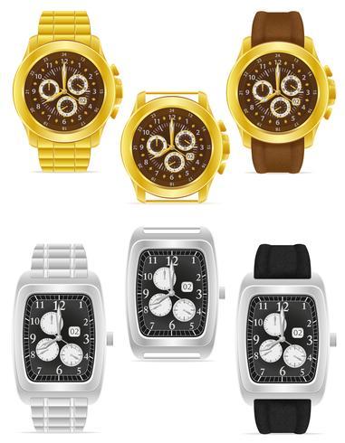 illustrazione vettoriale di orologio da polso meccanico oro e argento