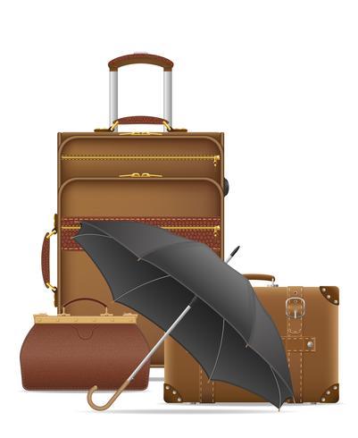 illustrazione di vettore di icone set viaggio borse