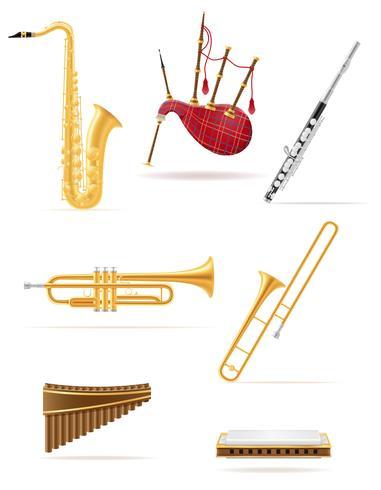 gli strumenti musicali del vento hanno messo l'illustrazione di riserva di vettore delle icone