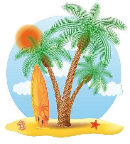 tavola da surf che sta sotto un'illustrazione di vettore della palma