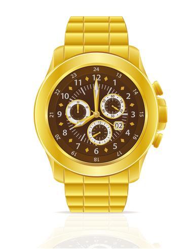 orologio da polso meccanico in oro con bracciale illustrazione vettoriale