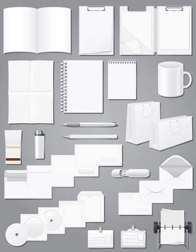 impostare le icone campioni bianchi in bianco per l'illustrazione vettoriale di corporate identity design