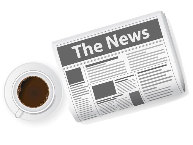 tazza di caffè e giornali vettore