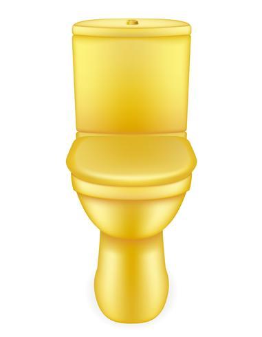 illustrazione dorata di vettore della ciotola di toilette