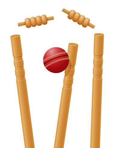 palla da cricket catturata nel wicket illustrazione vettoriale