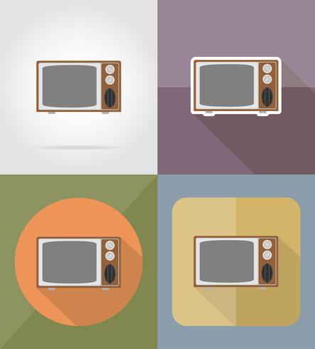 le vecchie icone piane di retro TV vector l'illustrazione