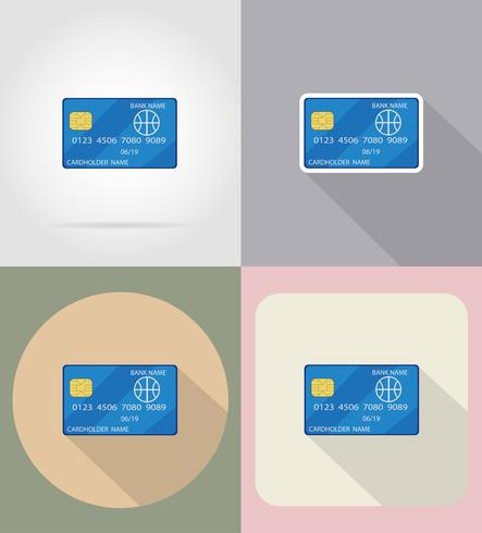 icone piane carta di credito illustrazione vettoriale