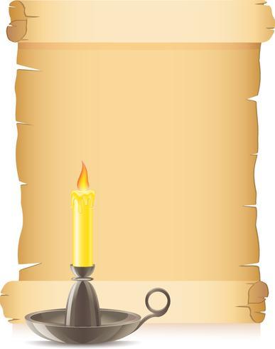 vecchia carta e candela conflagrant in un candelabro vettore