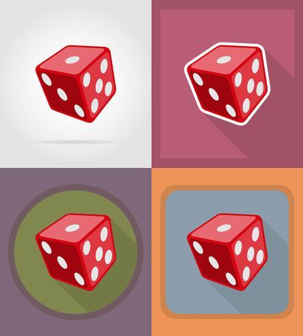 illustrazione piana di vettore delle icone del casinò dei dadi del cubo