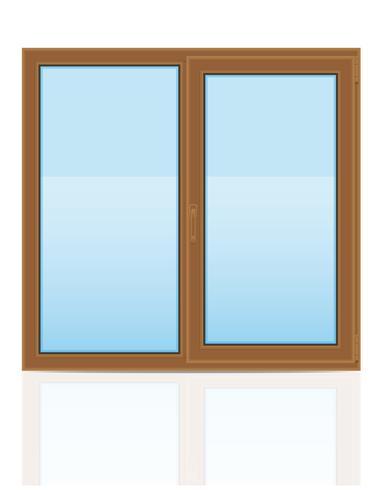 illustrazione trasparente di vettore di vista della finestra trasparente di plastica marrone