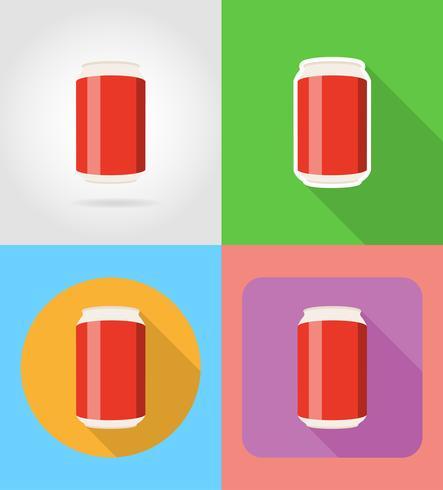 soda nelle icone piatte fast food può con l'illustrazione vettoriale ombra