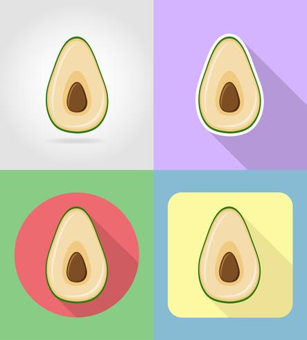 Icone stabilite piane di avocado con l'illustrazione di vettore dell'ombra