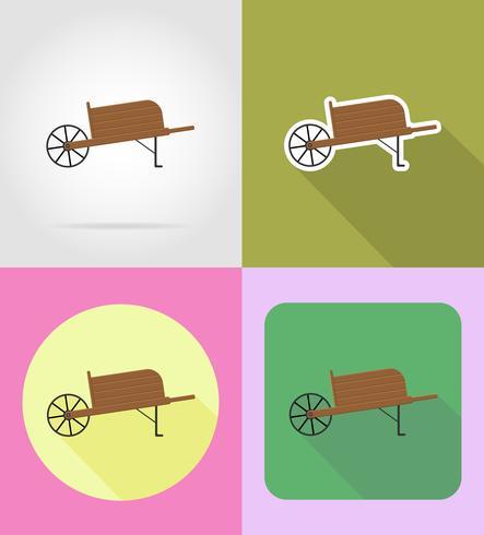 illustrazione piana di vettore delle icone della carriola dell'attrezzatura del giardino