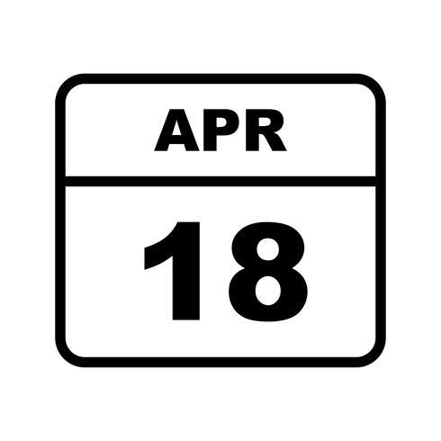 18 aprile Data su un calendario per un solo giorno vettore
