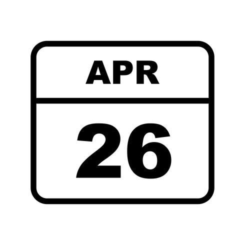 26 aprile Data su un calendario per un solo giorno vettore