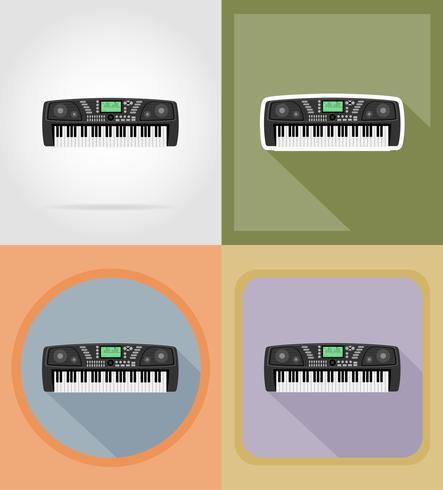 icone piane sintetizzatore illustrazione vettoriale