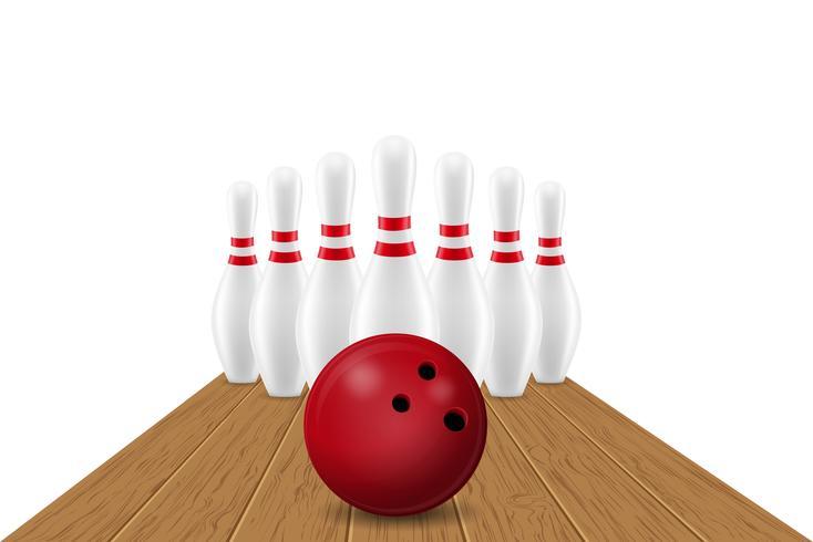 illustrazione vettoriale di palla da bowling e pin